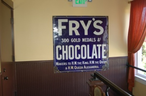 An antique porcelain Fry's Chocalate sign